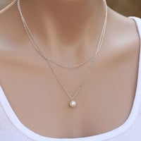 [flash 2015 Fashion Jewelry Elegant Womens Simple 2 Layers Pearl Necklace Chain Gifts = 5988033857