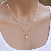 2016 Fashion Jewelry Elegant Womens Simple 2 Layers Pearl Necklace Chain Gifts [7957252935]