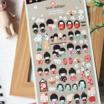 1pack/lot New DIY Multifunction Japan Doll Girl paper sticker Korea decoration stationery stickers No.1010