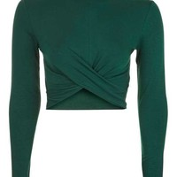 Long Sleeve Twist Front Crop Top - Tops - Clothing