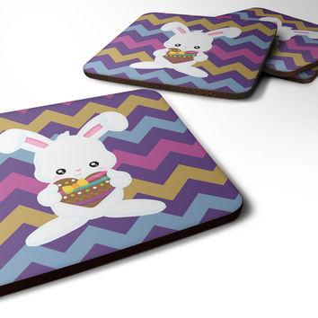 Easter Rabbit with Chocolate Heart Foam Coaster Set of 4 BB6901FC