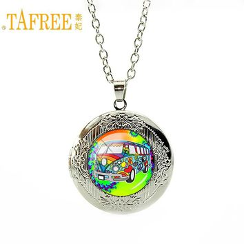 TAFREE Love Van Bus Locket Necklace Peace Lover Pendant vintage necklace silver chain bohemian geometric Jewelry CT117