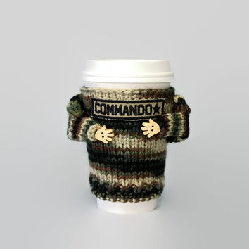 Army cup cozy. Army gift. Commando mug sweater. Camouflage  sweater. Travel mug sleeve. Army dad. Army mom. Funny coffee. Cup sleeve.