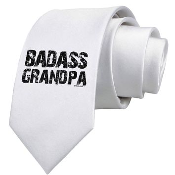 Badass Grandpa Printed White Neck Tie by TooLoud