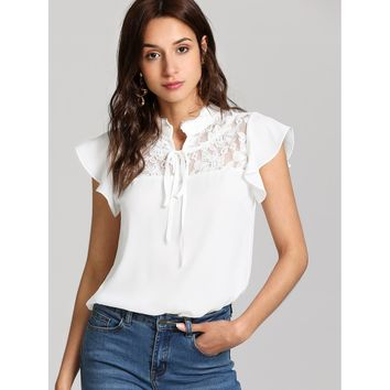 Knot Front Floral Lace Yoke Top White