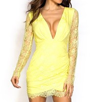 Kerry Bright Yellow Plunging Long Sleeve Lace Dress