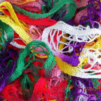Free Shipping in the U.S.A - Parrot - Crochet Ruffle Scarf - Starbella Ruffle Scarf - Bright Colorful Scarf - Multi-Colorful Yarn Sale