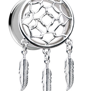 Classic Dreamcatcher Feather Dangle Ear Gauge Plug