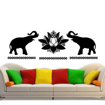 Doubled Bohemian Elephants Silhouette Art Wall Decals Home Livingroom Special Decor Vinyl Wall Murals Stickers Elephants W-434
