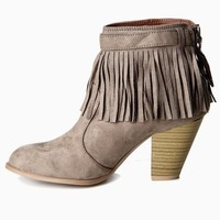 Taupe-Fringe-Suede-Bootie