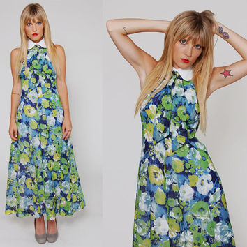 Vintage 70s Peter Pan Collar Maxi Dress Mod Blue WATERCOLOR Floral with Ascot Neck Ties