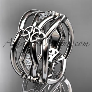 platinum diamond celtic trinity knot wedding band, triquetra ring, engagement ring CT7521B