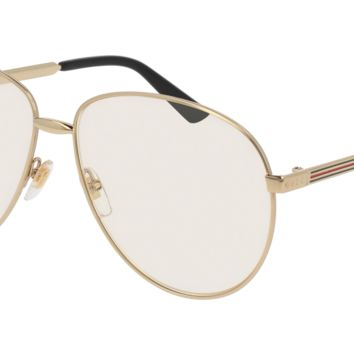 Gucci - GG0138S-003 Gold Sunglasses / Transparent  Lenses
