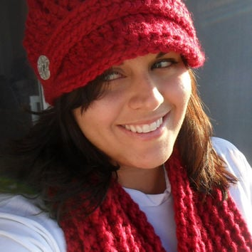 Newsboy Cap and Scarf Set Cranberry RED  by SoLaynaInspirations