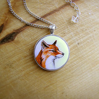 Animal Necklace Red Fox Portrait watercolor original hand painting, for fox lovers, brown orange and white, silvertone