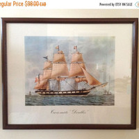 "SALE Vintage Watercolor Framed Print - Antoine Roux – Golden Age of the Sailing Ships – Trois-Mâts ""Denlles"