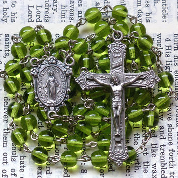 Miraculous Medal Rosary - Immaculate Conception, Light Green, Olive, 6mm Preciosa Czech Glass