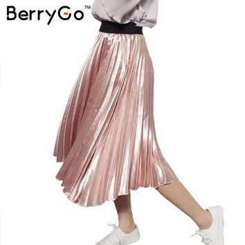 PEAPHY3 BerryGo 2016 winter autumn elastic high waist skirt Casual smooth pink accordion pleated skirt All-match satin black women skirt