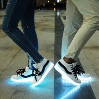 Newest black & white mixed color USB LED luminous shoes casual leisure men and women lovers fluorescent shoes sneakers [8096623303]