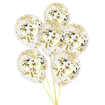 GOLD STAR CONFETTI Balloon-Gold Balloons, Twinkle Twinkle Birthday Party, Baby Shower Balloon, Confetti Balloons, Moons and Star Balloons