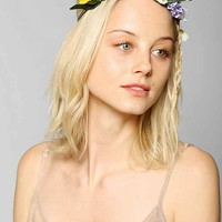 Flower Crown Suede Tie-Back Headwrap - Purple One
