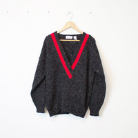 Vintage Red and Gray Sweater