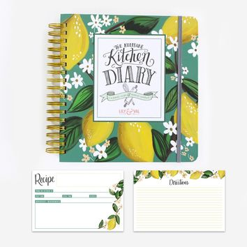 Lemon Kitchen Diary & Recipe Card Bundle