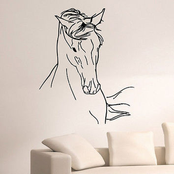 WALL DECAL VINYL STICKER ANIMAL HORSE HEAD DECOR SB886