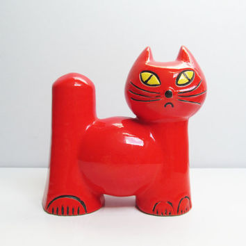 Vintage Ceramic Red Cat piggy bank money box, mid century modernist retro, double face, Germany German Waechtersbach, H 7.6 in/ 19.5 cm