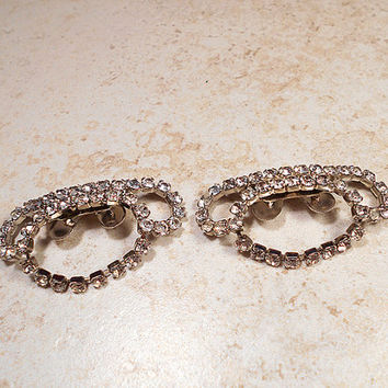 Vintage Rhinestone Shoe Clips Silver Tone Musi Designer Signed Mid Century 1960s Sparkle Glitz Bling Glam Womens Formal Wedding Prom Holiday