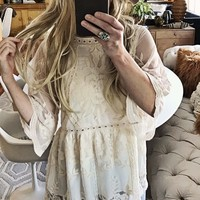 Tainted Rose Lace Top in Sand
