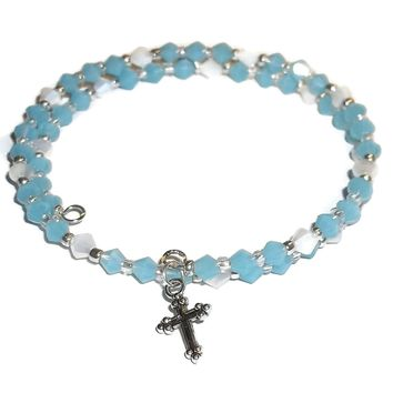 Crosses Ocean Blue & White Glass Beaded Artisan Crafted Stackables Wrap Bracelet (S-M),