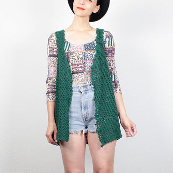 Vintage 90s Vest Dark Green Crochet Knit Sweater Vest Boho Extra Long Tunic Draped Soft Grunge Vest 1990s Layering Knit Top S M Medium L