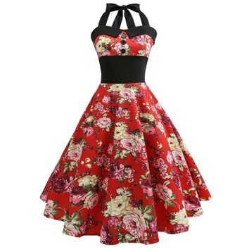 2018 New Vintage Dress Summer Halter Floral Print Swing Dress Elastic Back Robe 1950s 60s Retro Rockabilly Swing Party Dresses