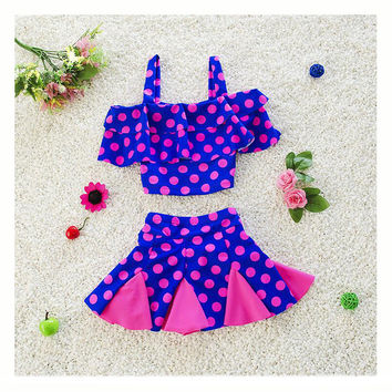 Cute Dot Swimwear 2017 New Summer Children Split Two-piece Bikini Girls Beautiful Bikini Children's Swimsuit Kids Bathing Suit