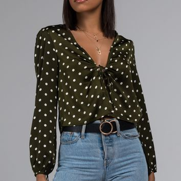 AKIRA Label Tie Front Polka Dot Blouse in Olive