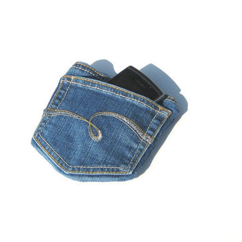 Gadget Case Recycled Denim Pocket Pouch by SmiLeaGainCreations
