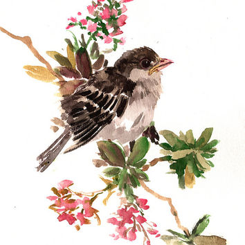 Best sparrow painting products on wanelo babe sparrow oriignal watercolor painting 10 x 8 in sparrow w thecheapjerseys Image collections