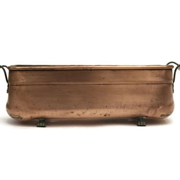 Antique French Copper Planter. Antique Copper Jardiniere with Ceramic Handles.