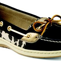Sperry Top-Sider Angelfish Leopard Shimmer Slip-on Boat Shoe BlackLeopard, Size 5.5M  Women's Shoes