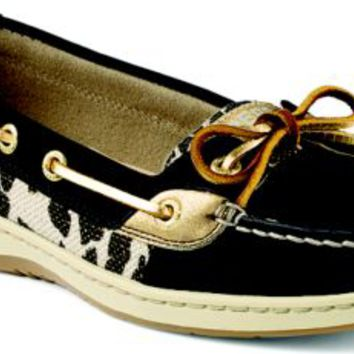 Sperry Top-Sider Angelfish Leopard Shimmer Slip-on Boat Shoe BlackLeopard, Size 8.5M  Women's Shoes