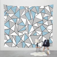 Abstraction Lines Sky Blue Wall Tapestry by Project M