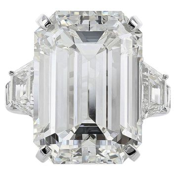 22.02 Carat Emerald Cut Diamond Platinum Three Stone Ring