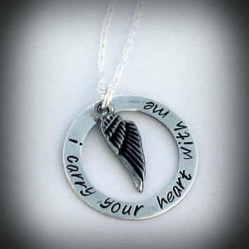 Hand Stamped Charm Jewelry Custom I Carry Your Heart With Me Angel Necklace Custom Sterling Silver Necklace