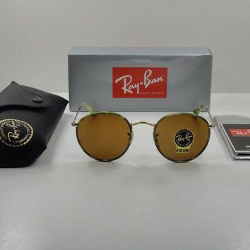 Gotopfashion RAY-BAN ROUND CAMOUFLAGE SUNGLASSES RB3447JM 169 GOLD FRAME/BROWN LENS 50MM