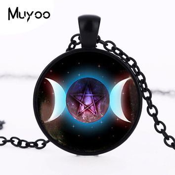Triple Moon Pentagram pendant, Triple Moon Goddess necklace, Pentagram Black Moon Pendant, Occult Gothic Wicca Necklace Men HZ1