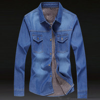 Long Sleeve Button Down Wash Denim Shirt