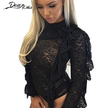 Transparent Sexy Lace Bodysuits Women Black Long Sleeve Ruched Turtleneck Spring Elegant Casual Slim Party Jumpsuit Rompers
