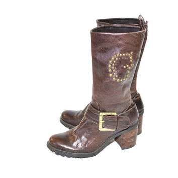 Vintage Guess Brown Harness Boots Brown Harness Boots Moto Boots Brown Leather Boots Brown Guess Boots Size 8 9