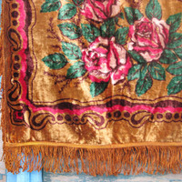 Vintage 1970's Luxurious Plush Velvet Brown Honey with Pink Roses Bedspread or Tablecloth with Fringed Edging  - Home decor